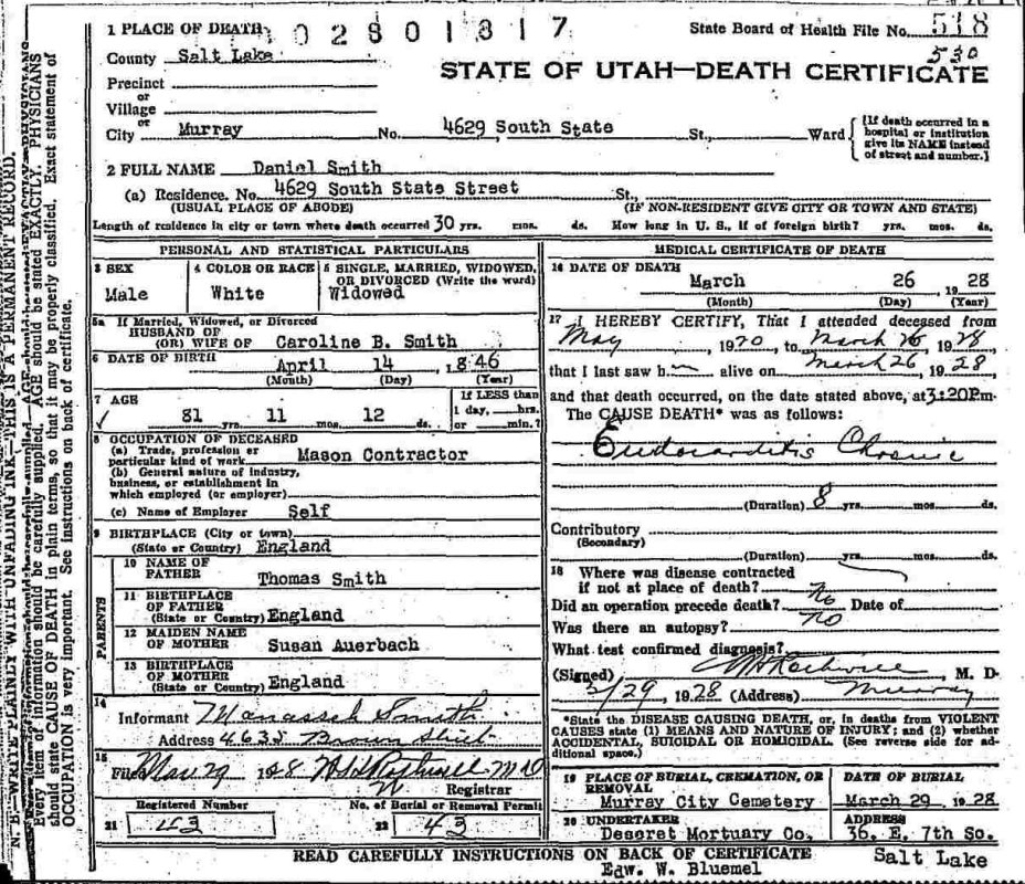 Documents Utah Death Certificate Daniel Smith Young Hogan